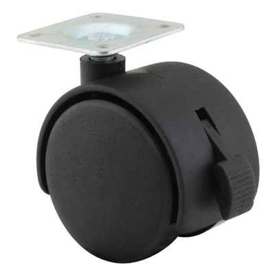 ION Mini Twin Wheel Castor - With Brake - 50mm Wheel Diameter - Pack 4