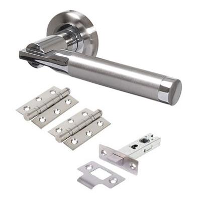 Morello Gloucester Door Handle - Door Kit - Satin Nickel/Polished Chrome