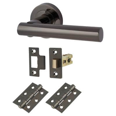 Touchpoint Bella Lever Door Handle on Rose - Door Kit - Black Nickel)
