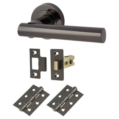 Touchpoint Bella Lever Door Handle on Rose - Door Kit - Black Nickel