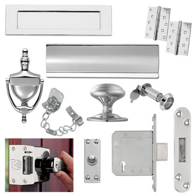 Front Door Furniture Kit - Polished Chrome)