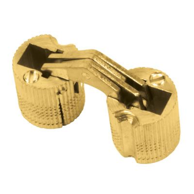 Concealed Rounded Cabinet Hinge - 16mm - Polished Brass - Pair