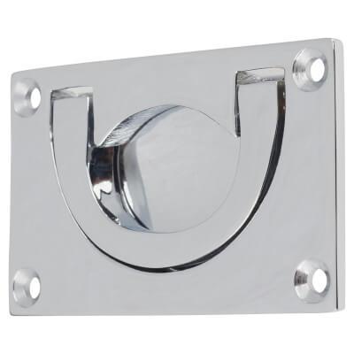 Flush Chest Drawer Pull - 45 x 75mm - Polished Chrome