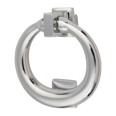 Morello Ring Door Knocker - 115 x 100mm - Polished Chrome)