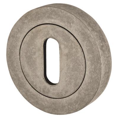 Old English Escutcheon - Keyhole - Distressed Silver