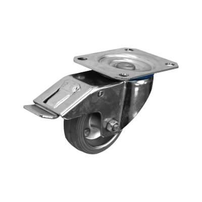 Individual Industrial Non-marking Castor - Swivel Braked - 80kg - Grey