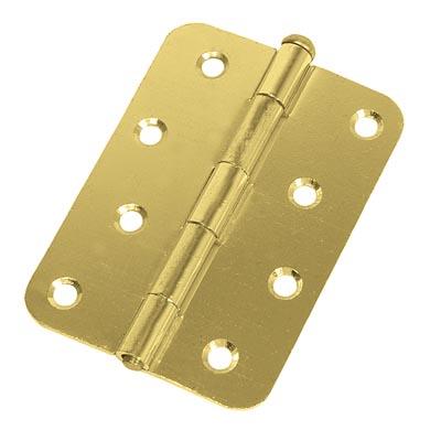 Loose Pin Radius Steel Hinge - 100 x 67mm - Brass Plated