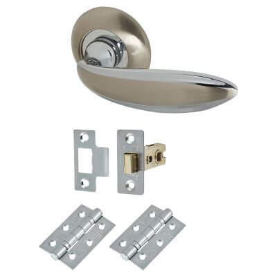 Elan Cortona Lever Door Handle on Rose - Door Kit - Satin Nickel/Polished Chrome