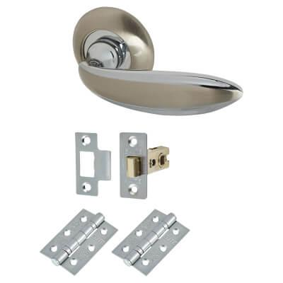 Elan Cortona Door Handle - Door Kit - Satin Nickel/Polished Chrome