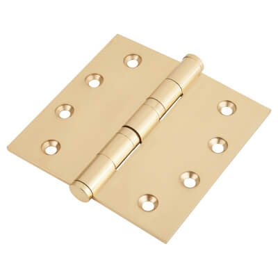 Performance Ball Bearing Hinge - 100 x 100 x 3mm - Polished Brass
