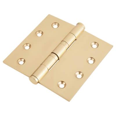 Performance Ball Bearing Hinge - 100 x 100 x 3mm - Polished Brass - Pair