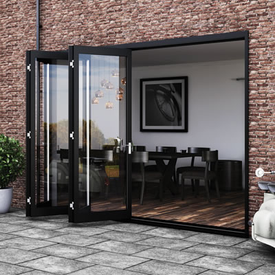 Barrierfold Outward Opening Patio Door Kit - 2 Door - Satin Stainless Steel