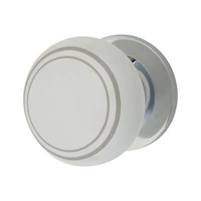 Elan Designer Mortice/Rim Door Knob - 57mm - White Porcelain/Chrome)