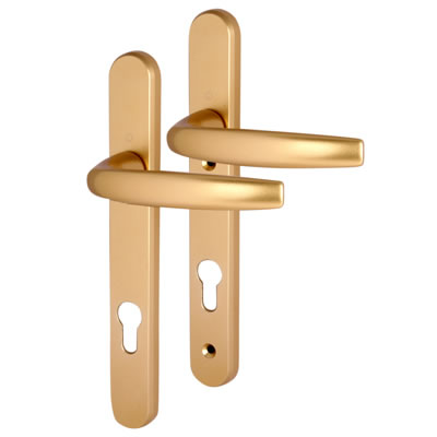Hoppe Atlanta Multipoint Handle - uPVC/Timber - 92mm centres - 70mm door thickness - Gold)