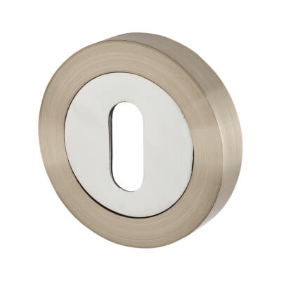 Touchpoint Escutcheon - Keyhole - Satin Nickel/Polished Chrome