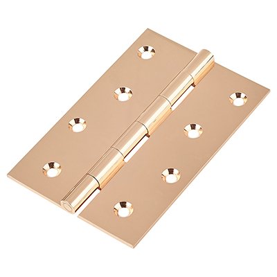 Solid Drawn Hinge - 100 x 67 x 2mm - Polished Copper - Pair