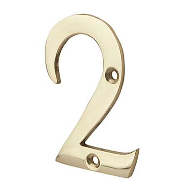 76mm Numeral - 2 - Polished Brass