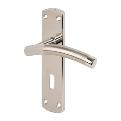 Steelworx Curved -T CSL Door Handle - Lock Set - Dual Finish Stainless Steel