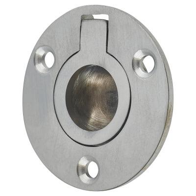 Round Flush Ring Pull - 45mm - Satin Chrome
