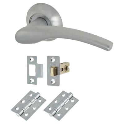 Elan Siena Lever Door Handle on Rose - Door Kit - Satin Chrome)
