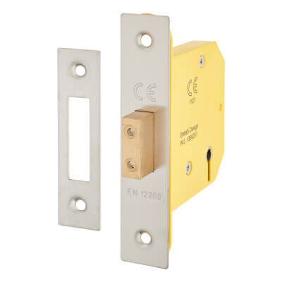Altro 5 Lever Deadlock - 78mm Case - 57mm Backset - Satin Stainless