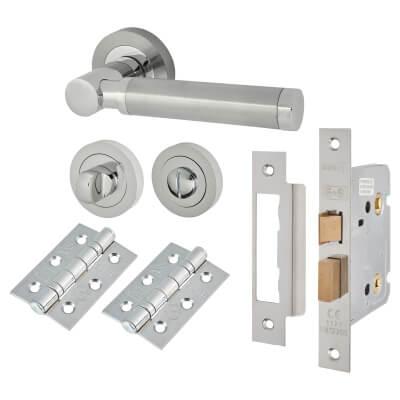 Touchpoint Juliet Lever Door Handle - Bathroom Lock Kit - Satin Nickel/Pol Chrome