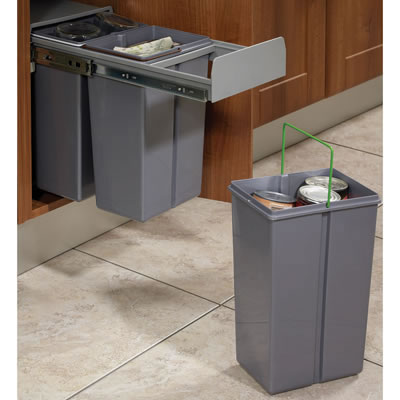 Soft Close Pull Out Waste Bin - Cabinet Width 300mm - 3 x 10L