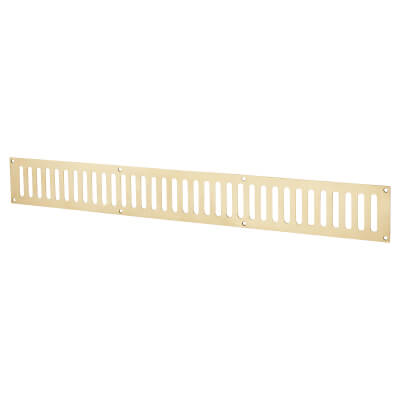 Plain Slotted Vent - 600 x 76mm - 9800mm2 Free Air Flow - Polished Brass)