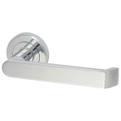 Concept Lever Door Handle on Rose - Polished Chrome
