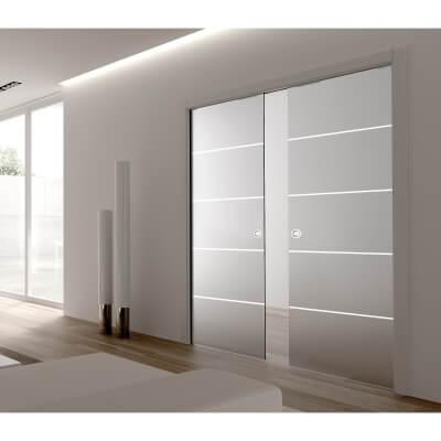 Eclisse 8mm Righe Patterned Glass Double Pocket Door Kit - 125mm Wall - 762 + 762 x 1981mm Door Siz