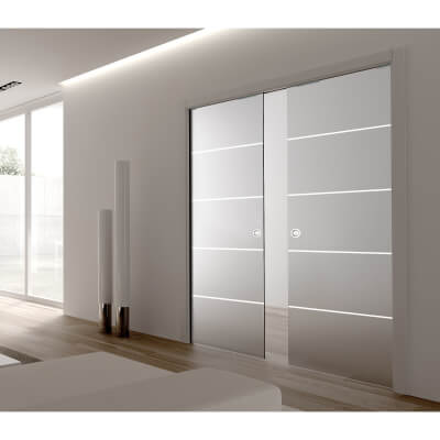 Eclisse 8mm Righe Patterned Glass Double Pocket Door Kit - 125mm Wall - 762 + 762 x 1981mm Door Siz