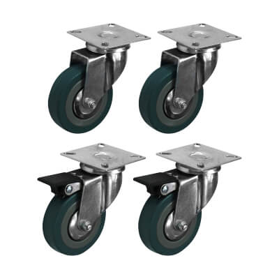 Coldene General Purpose Castor - Swivel Braked - 90kg Maximum Weight - Grey - Pack of 4)