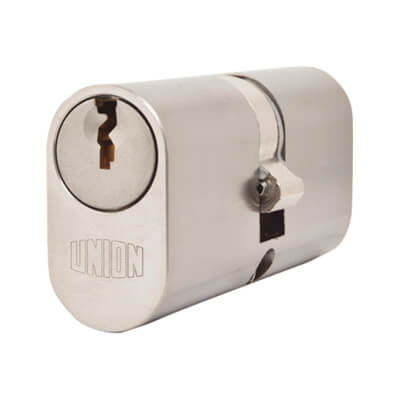 UNION® J2X6 Oval 2 x 6 Double Cylinder - 32 + 32mm - Satin Chrome