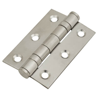 Twin Ball Bearing Hinge - 75 x 50 x 2mm - Satin Stainless Steel - Pair)