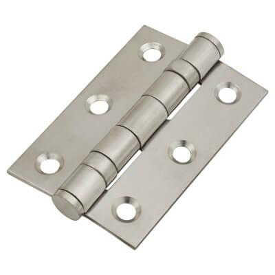 Twin Ball Bearing Hinge - 75 x 50 x 2mm - Satin Stainless Steel)