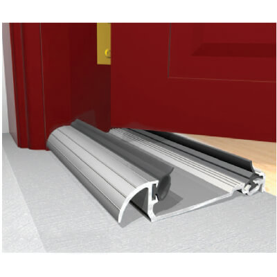 Exitex Low Height Macclex Threshold - 914mm - Thick Inward Opening Doors - Mill Aluminium