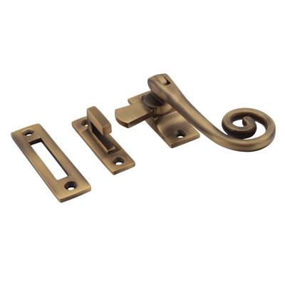 Cast Open Curl Casement Hook & Plate Fastener - Antique Brass