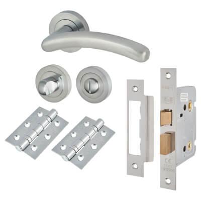 Touchpoint Carina Lever Door Handle - Bathroom Lock Kit - Satin Chrome