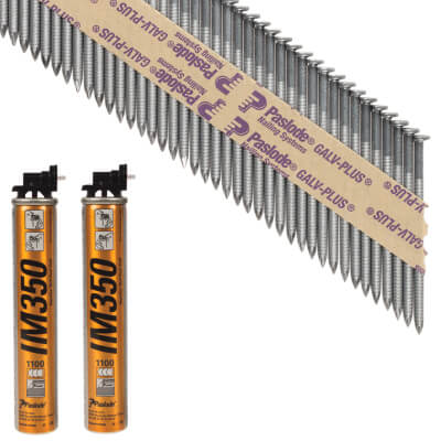 Paslode IM350 Framing Nail & Gas - First Fix - 63 x 3.1mm - Galv Plus - Pack 2200)