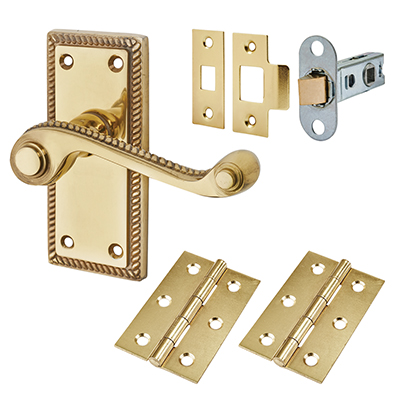 Touchpoint Budget Rope Edge Door Handle Kit - Latch Set - Polished Brass