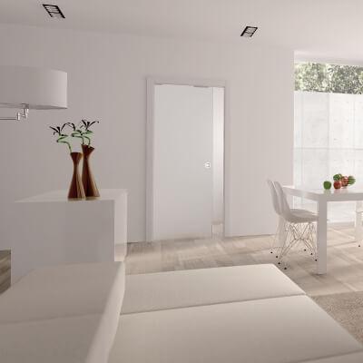 Eclisse 8mm Glass Single Pocket Door Kit - 100mm Wall - 826 x 2040mm Door Size)