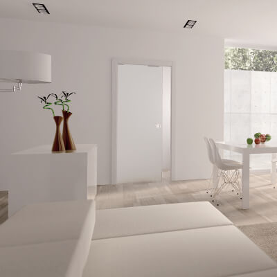 Eclisse 8mm Glass Single Pocket Door Kit - 100mm Wall - 826 x 2040mm Door Size