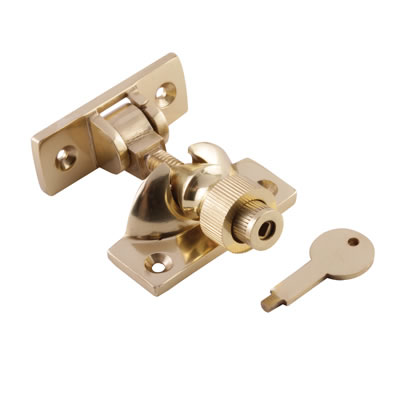 Brighton Screw Pattern Locking Fastener - 57mm - Polished Brass