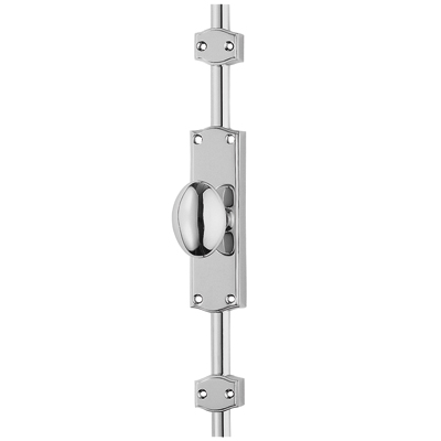 French Style Oval Knob Locking Espagnolette Bolt - Polished Chrome