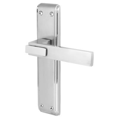 Morello Modena Door Handle - Latch Set - Satin and Polished Chrome