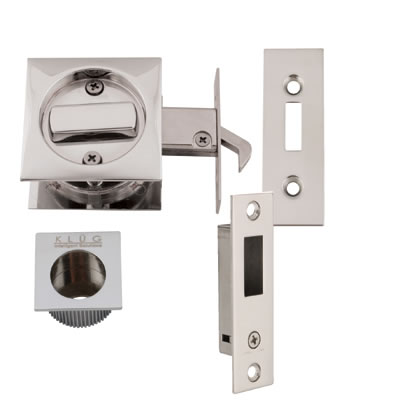 KLÜG Square Flush Privacy Set with Bolt - Polished Chrome