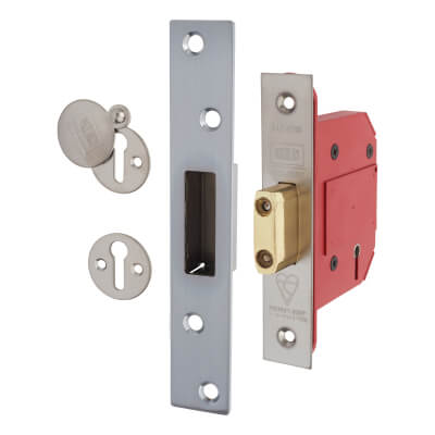 UNION® 2100S Strongbolt BS3621:2007 5 Lever Deadlock - 68mm Case - 45mm Backset - Satin Chrome