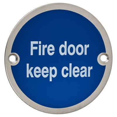 Fire Door Keep Clear - 75mm - Satin Stainless Steel)
