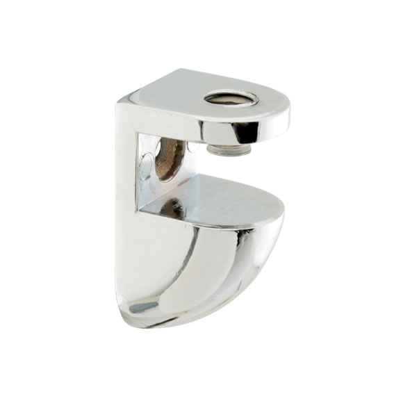 Curve Shelf Support Bracket - 8-10mm Shelf Thickness - Polished Chrome - Pack 4