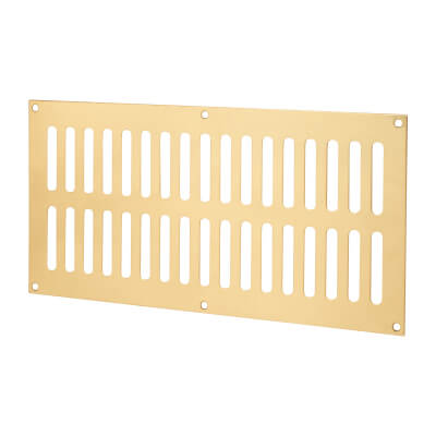 Plain Slotted Vent - 305 x 152mm - 11590mm2 Free Air Flow - Polished Brass